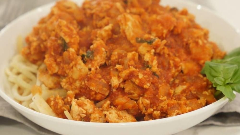 Image of Chicken Bolognese over Kohlrabi Spaghetti