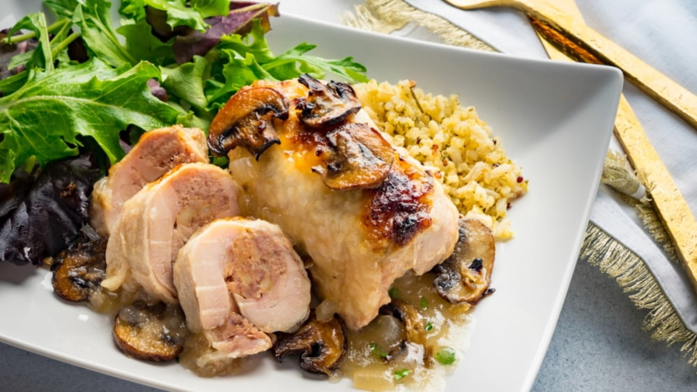 Image of Gourmet Veal-Stuffed Chicken in Wine