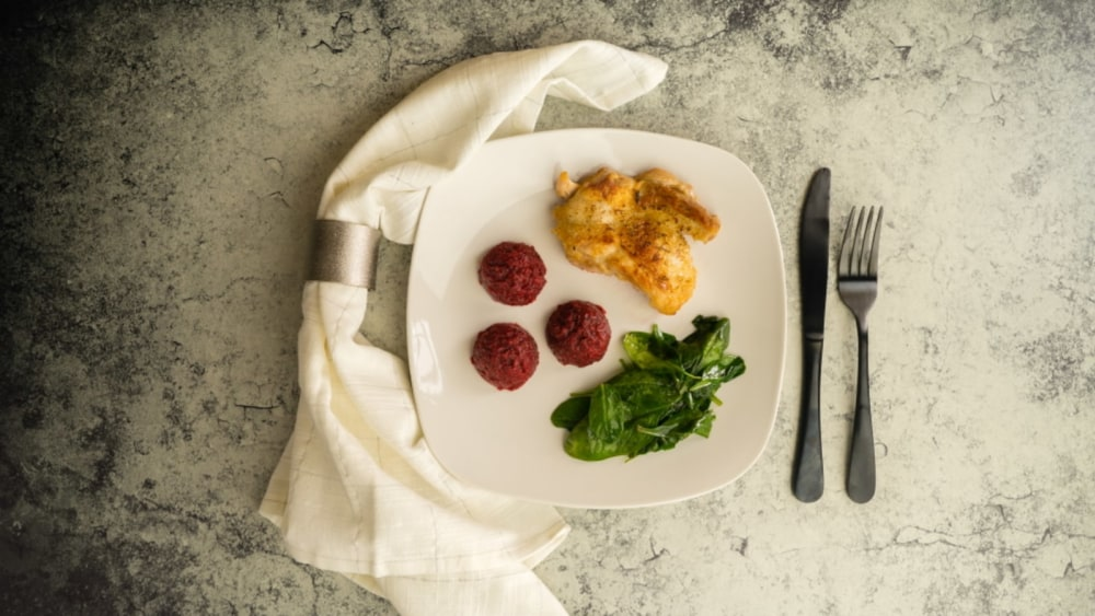 Image of Pan-Seared Chicken over Beet Puree