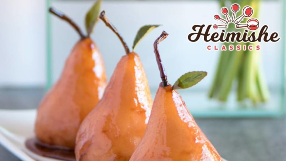 Image of Pink Poached Pears in Wine