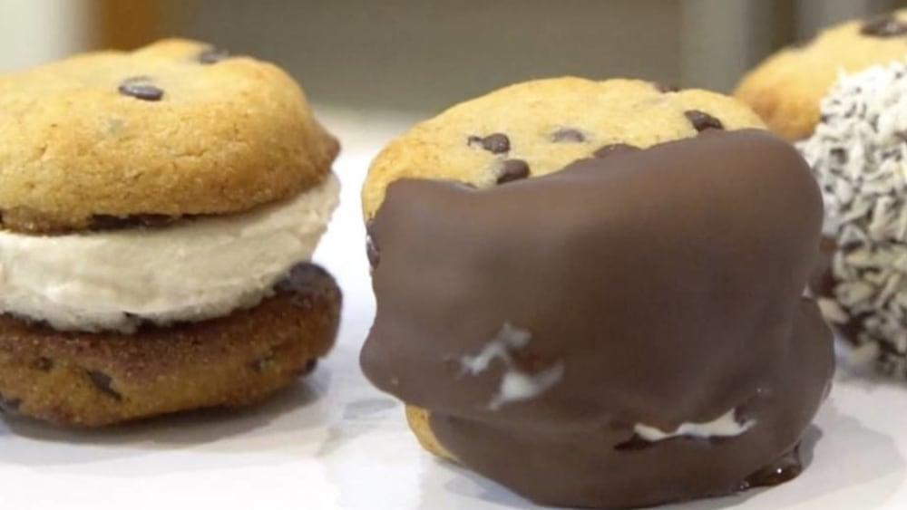 Image of Choco-Chip Almond Ice Cream Cookie Sandwiches
