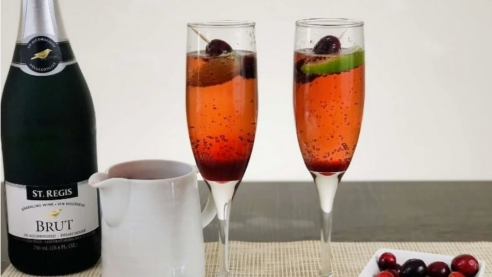 Cranberry Pomegranate Non-Alcoholic Champagne Bellini's With Lime