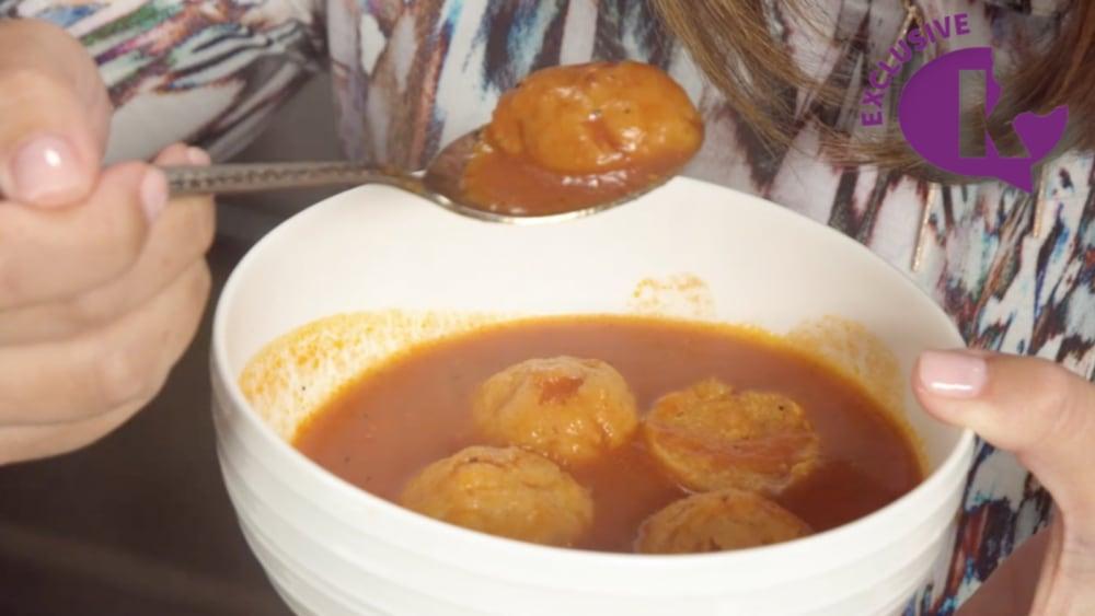 Image of Tomato Soup with Cheddar Matzo Balls