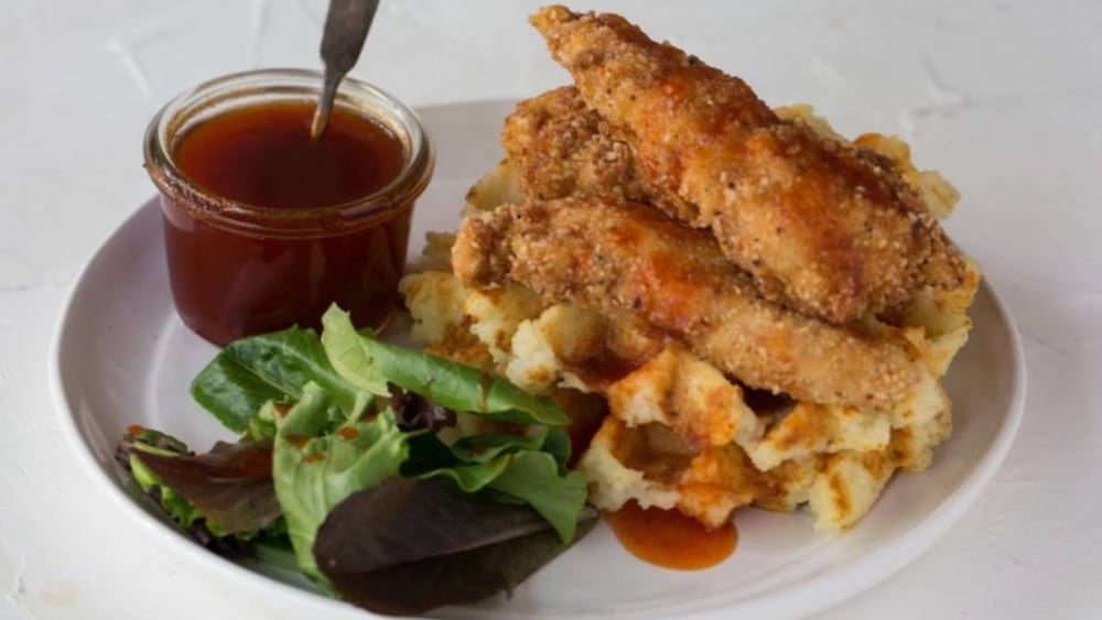 Image of Waffled Latkes with Matzo Fried Chicken