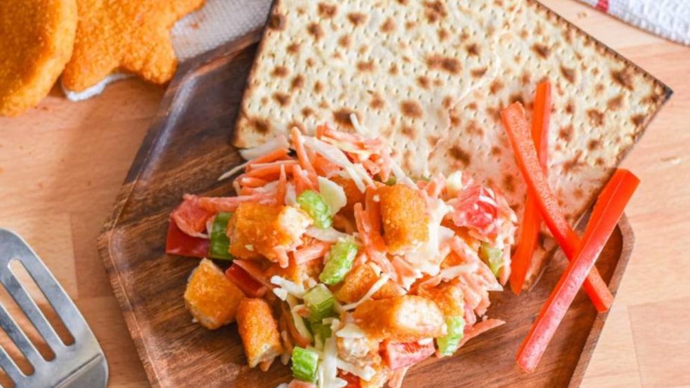 Image of Zesty Lemon Chicken Salad Matzo Hors D'Oeuvres