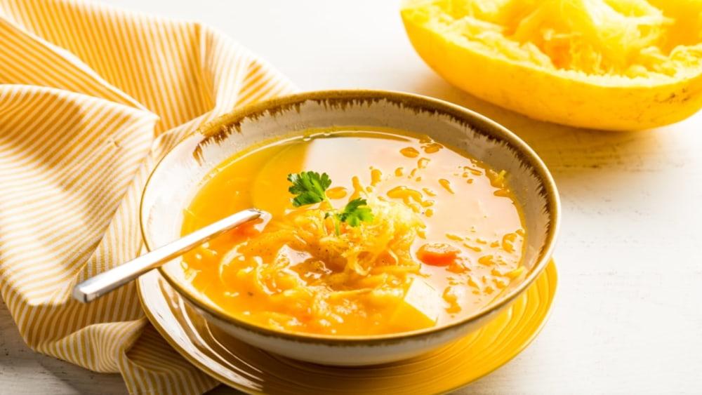 "Image of Triple-Squash Veggie Soup with ""Lukshen"""