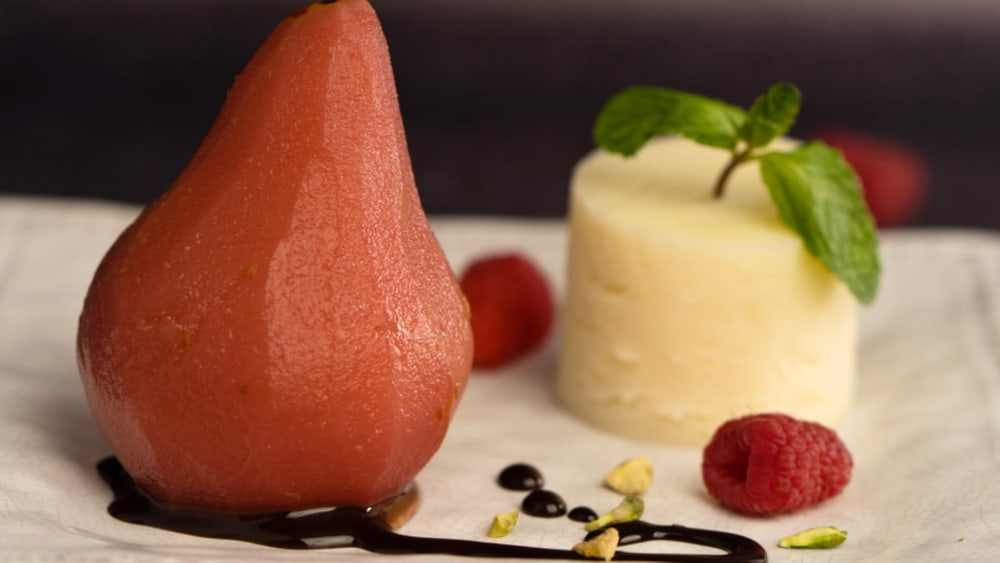 Image of Raspberry Poached Pears