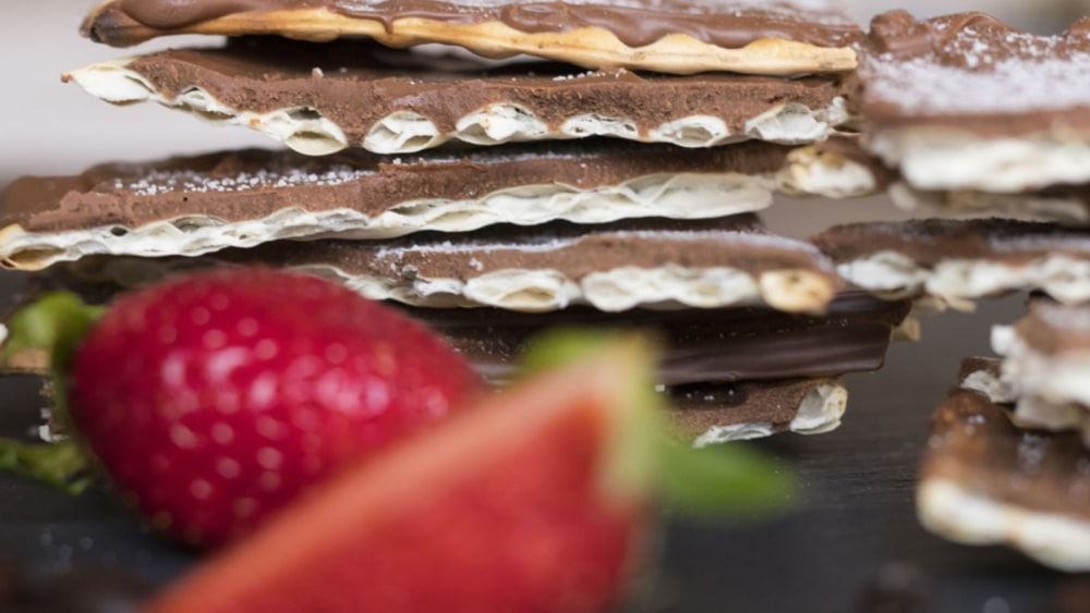 Image of Chocolate Covered Matzo with Homemade Confectioners' Sugar