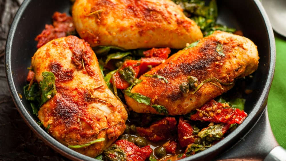 Image of Chicken with Spinach, Capers, and Sun-Dried Tomatoes