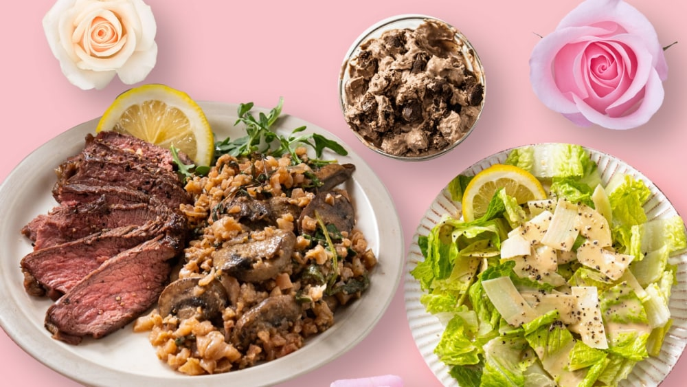 Valentine's Day dinner ideas at home: Caesar salad, cauliflower risotto with sliced steak, chocolate cookie dough ice cream