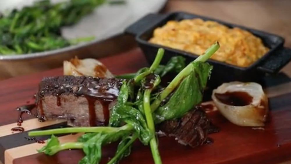 Image of Cider Braised Short Ribs with Sweet Potato Soufflé