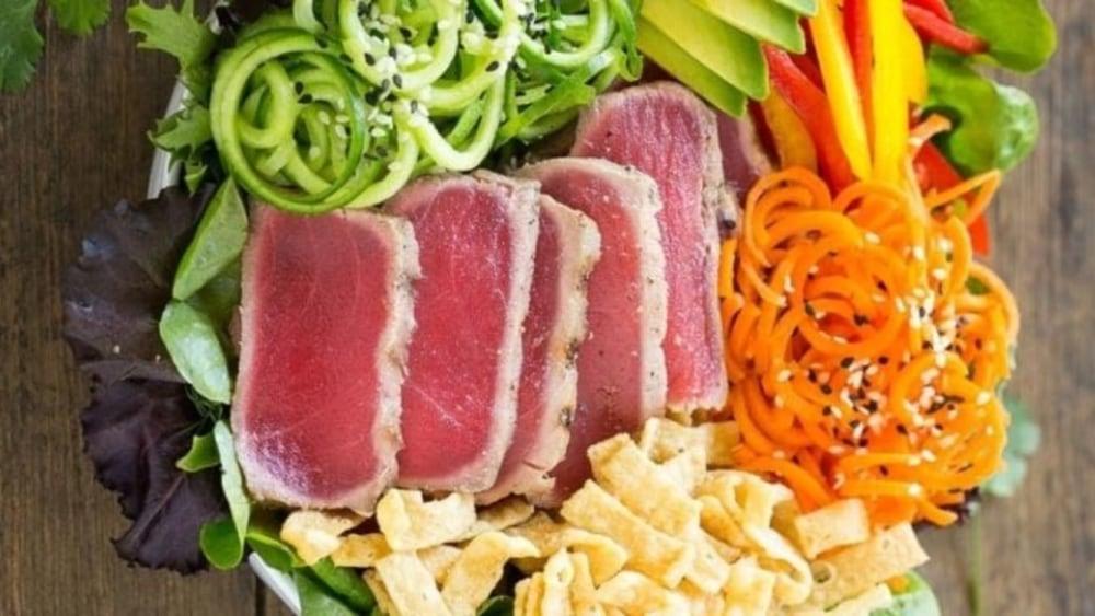 Seared Ahi Tuna Salad with Sesame-Ginger Dressing