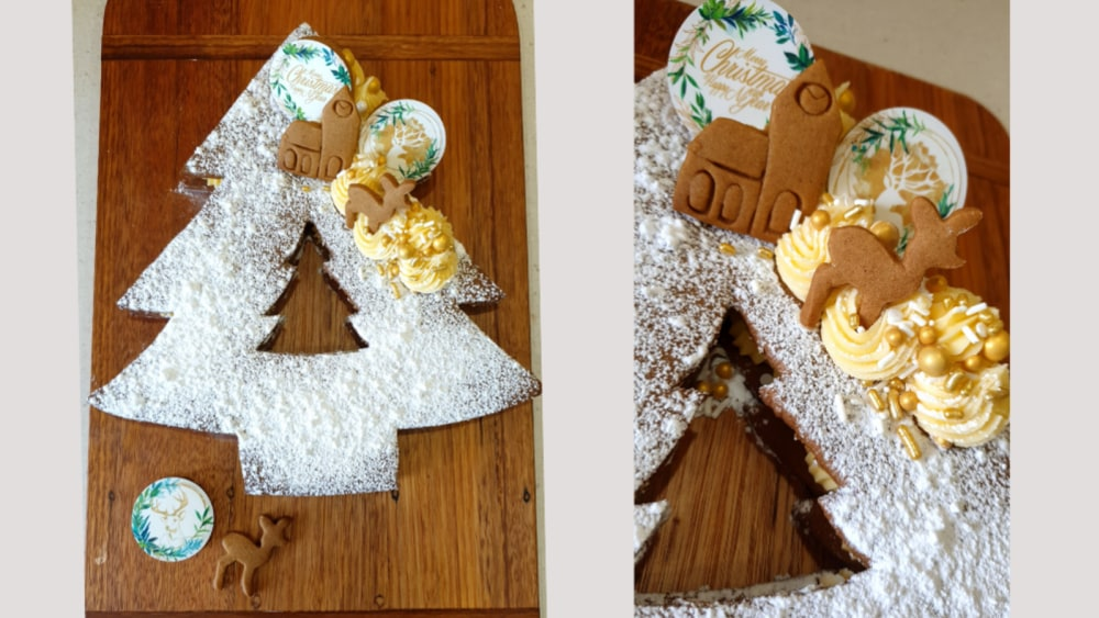 Image of Christmas tree shaped gingerbread cookie cake or cream tart