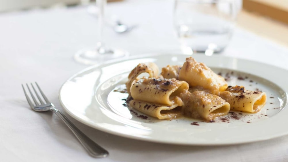 Image of Meatless Neapolitan Paccheri Pasta with Mushrooms and Cream