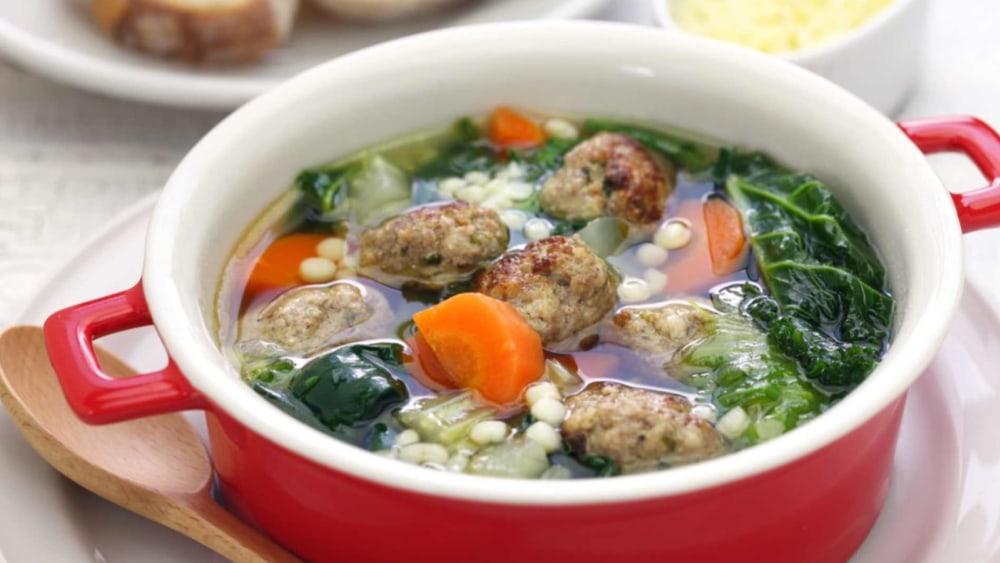 Image of Neapolitan Italian Wedding Soup with Acini di Pepe