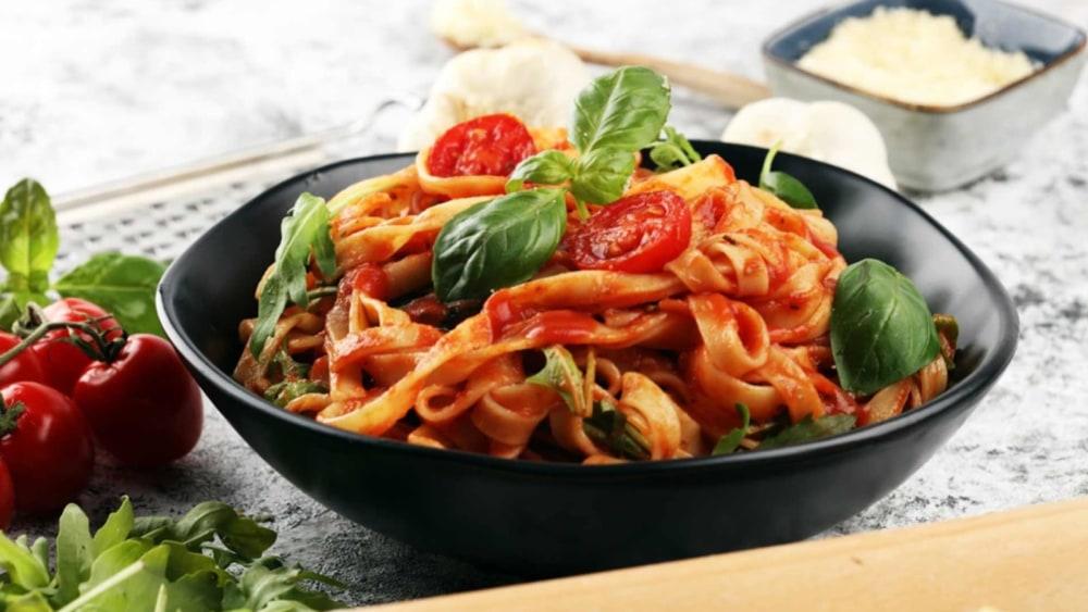 Image of Northern Italian Tagliatelle Pasta with a Garlic Tomato Sauce