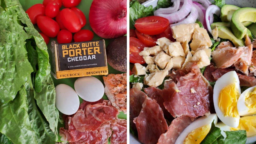 Image showing Black Butte Porter recipe ingredients and a finished salad