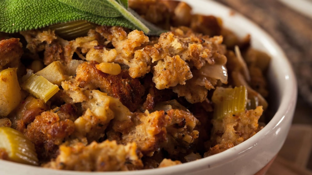 Image of Homemade Vegan Stuffing   Wild Rice, Cranberries and Pine Nuts