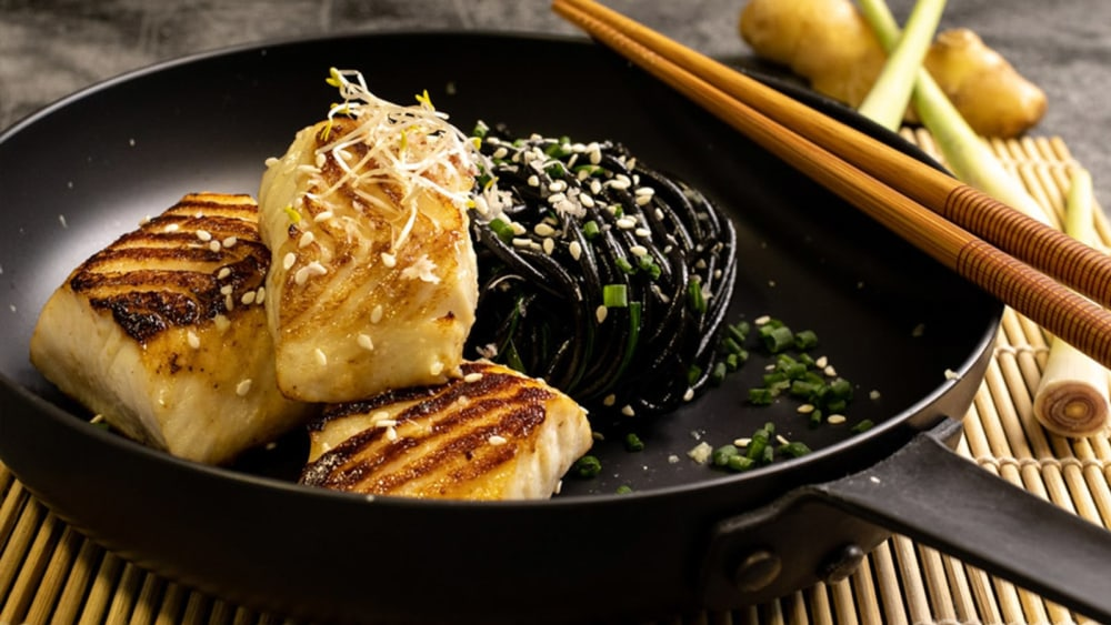 Miso black cod on a plate with pak choy