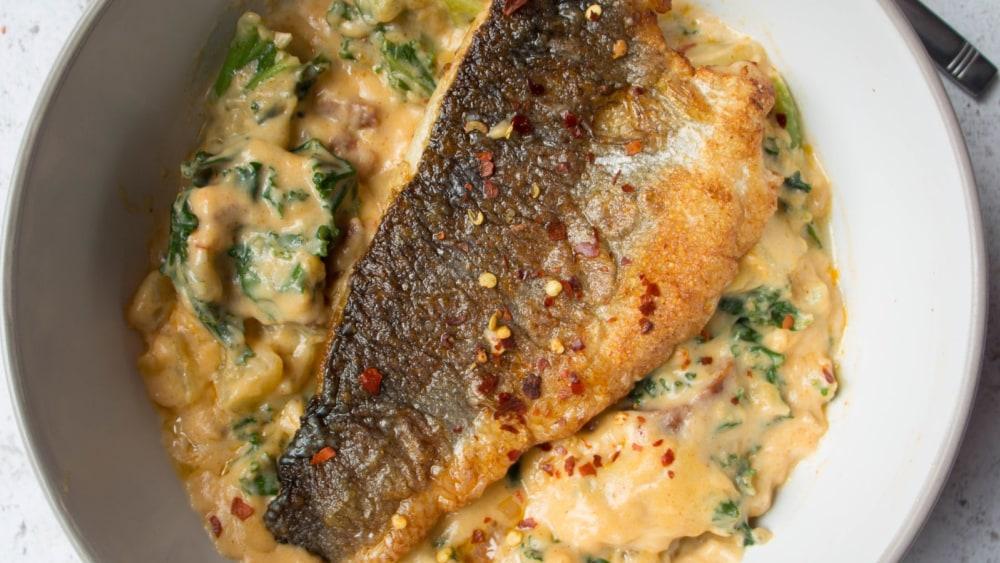 Image of Sea Bass on Smokey Chorizo Chowder