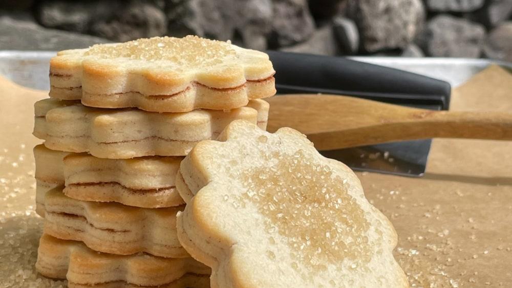 Cinnamon Sugar Cookies Sitting on a Cutting Board