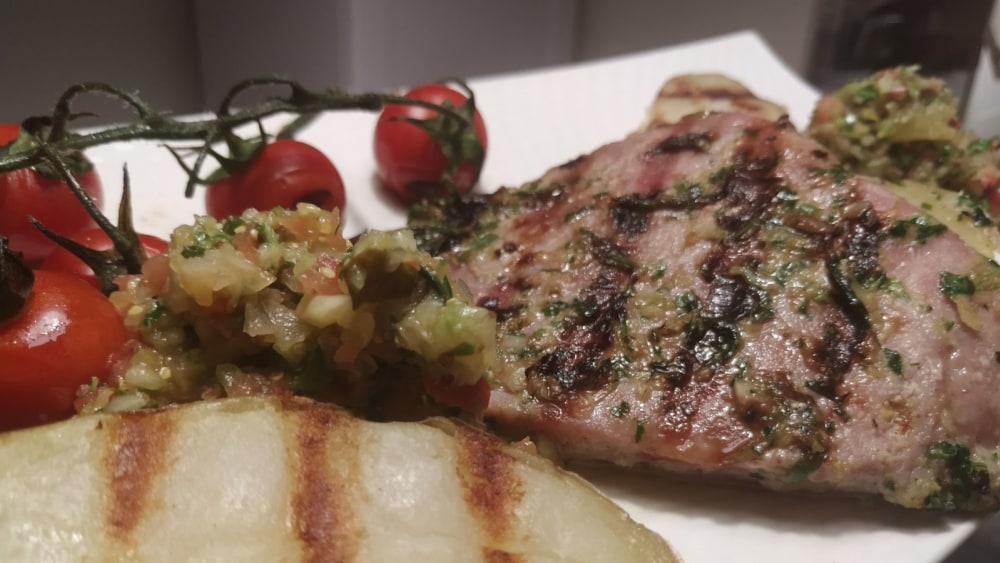 Image of BBQ Tuna Steaks & Smashed Cucumber Salsa