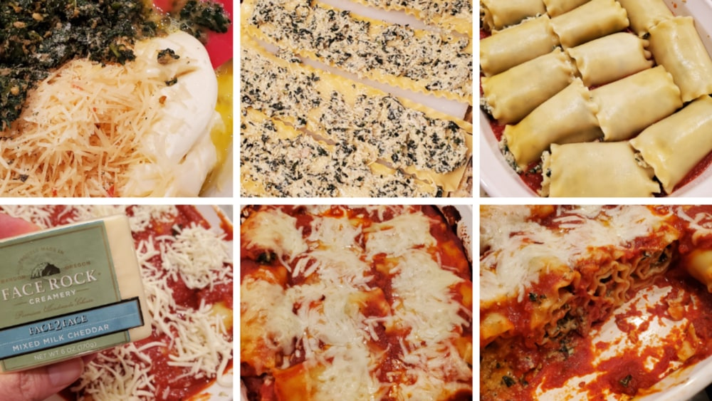 grid showing steps to make a face 2 face lasagna rollups