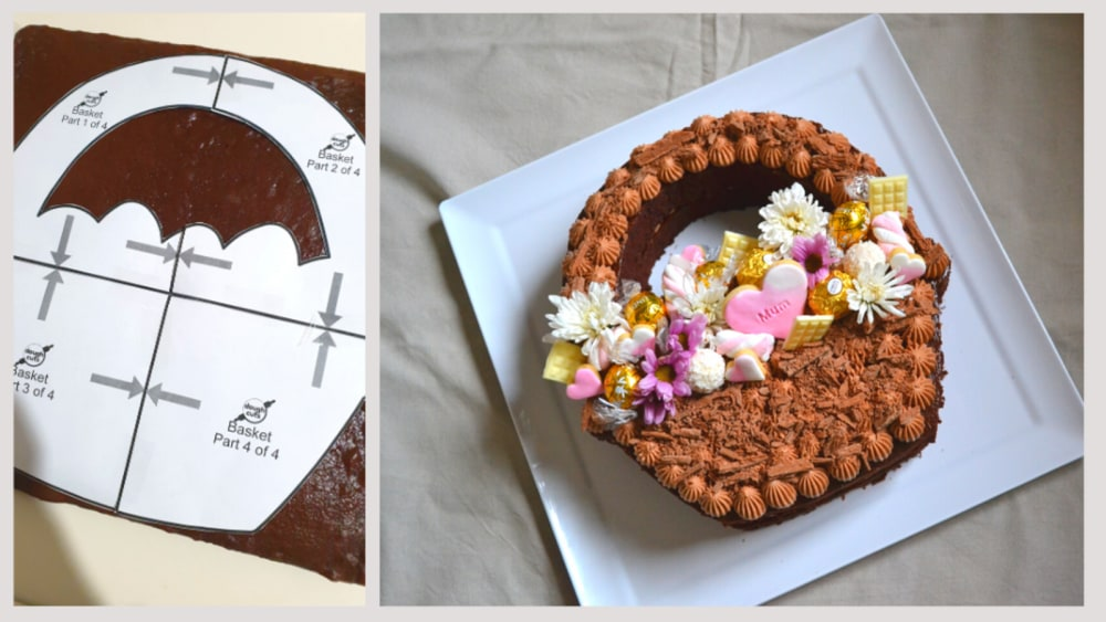 Image of Flower Basket Chocolate Cake With Chocolate Cheesecake Frosting