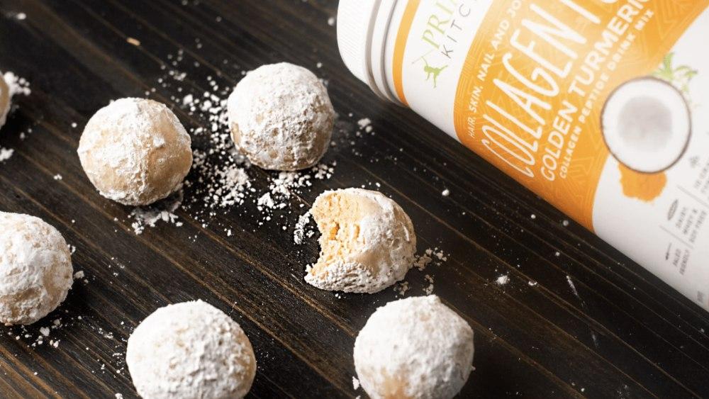 powdered donut holes next to collagen fuel