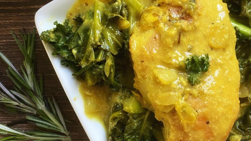 paleo mustard chicken and kale