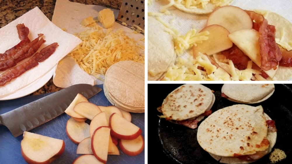 steps to make a smokey apple bacon quesadilla