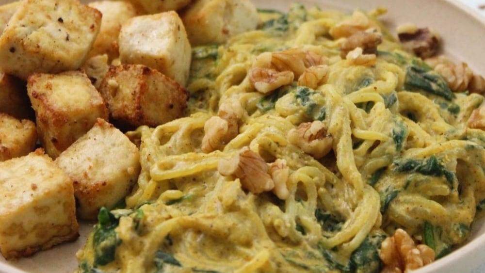 Shirataki Noodles Garlic Cheese Sauce Tofu