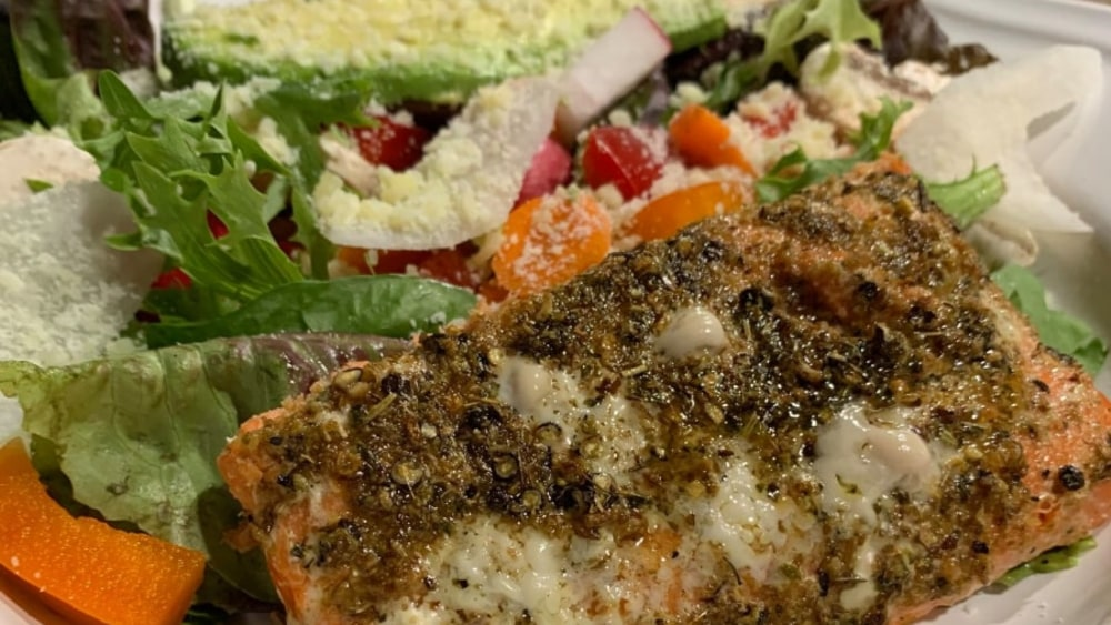 Image ofGrilled Adobo Persian Lime Salmon with Avocado and Spring Mix Salad