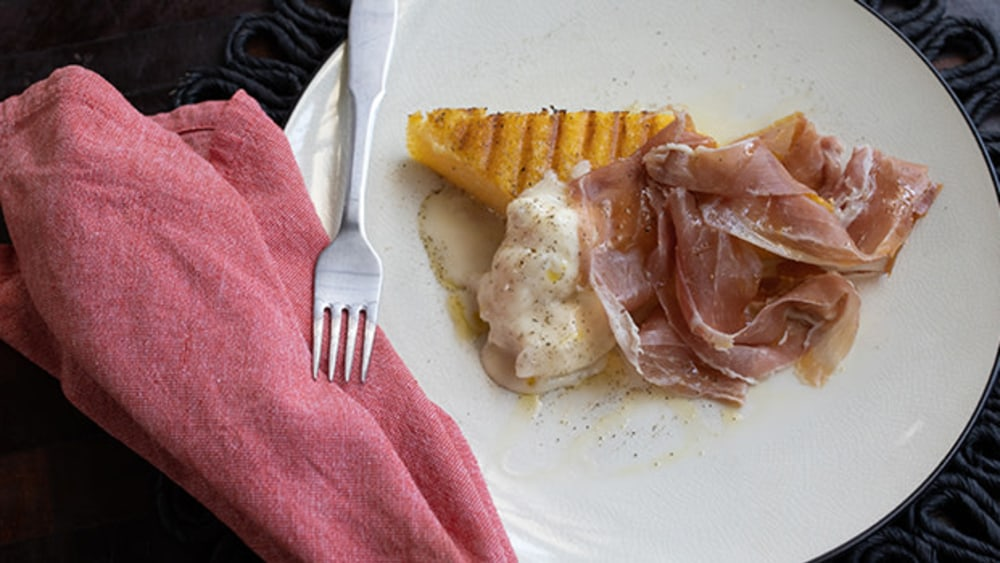 Image ofGrilled Polenta with Gorgonzola and Prosciutto
