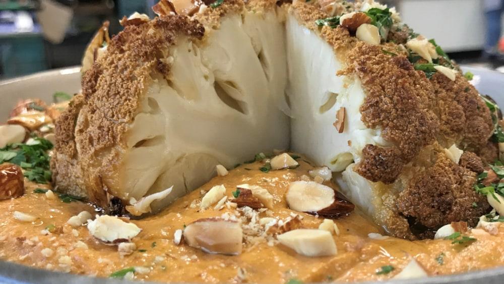 Image ofWhole Roasted Cauliflower with Romesco Sauce