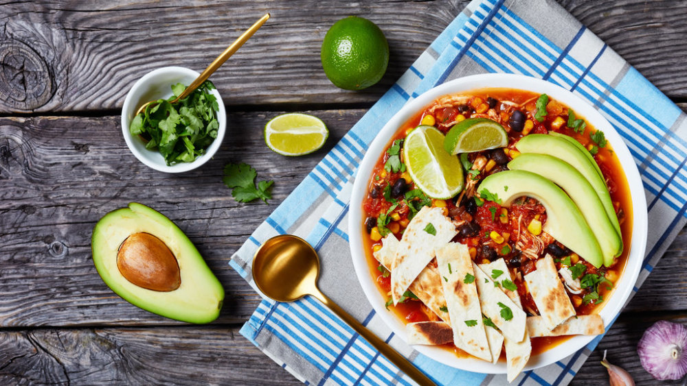 Image ofHomemade Mexican Soup with Chicken and Tortilla Chips