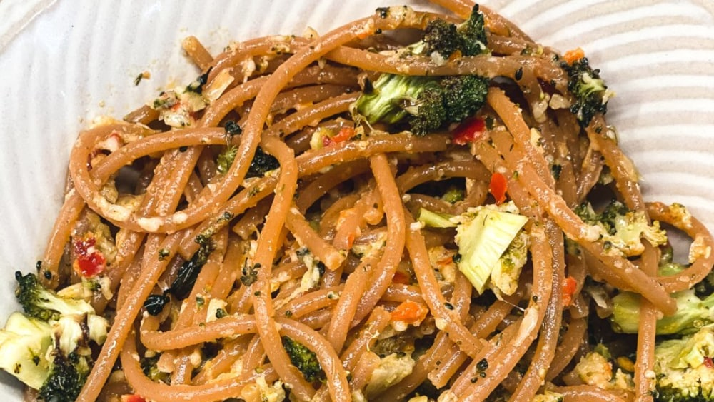 Image ofRed Lentil Pasta with Roasted Broccoli in Parmesan Artichoke Antipasto Bomba Sauce