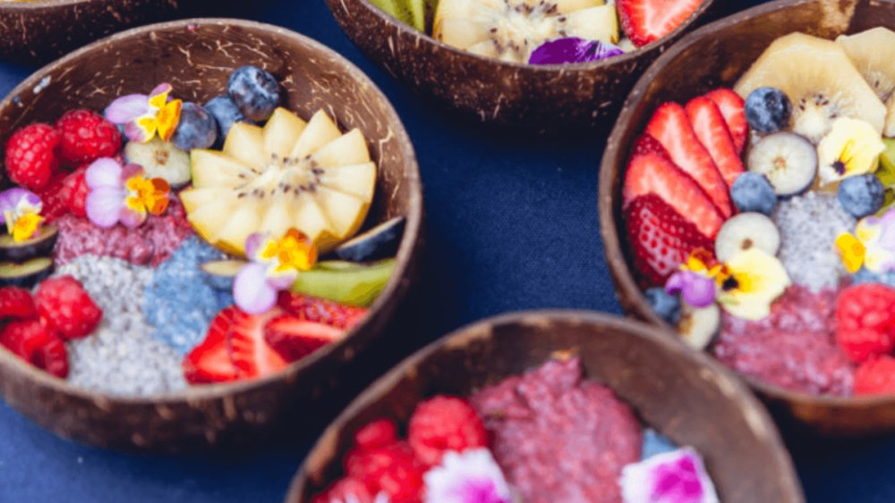 Image of Star Dust Chia Trio Pudding with Rainbow Fruit