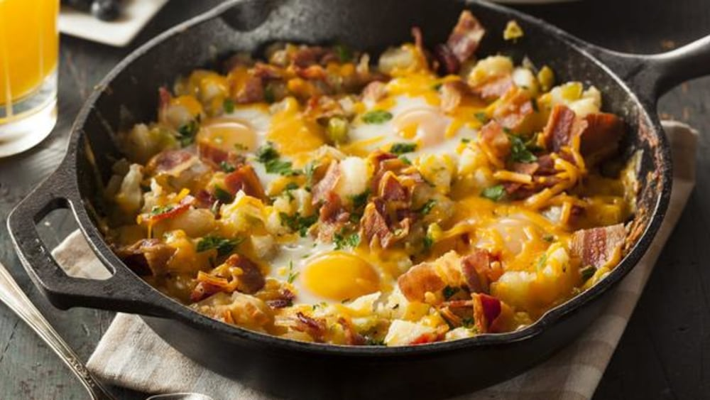 Image of Tasty Breakfast Skillet With Bacon, Egg, Potato, And Cheese