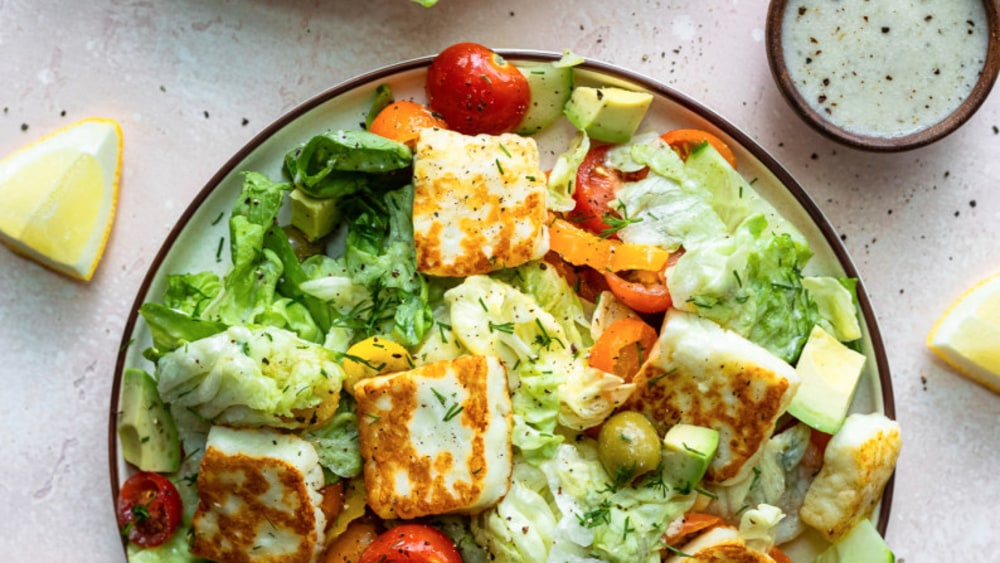 Image ofFried Halloumi Greek Salad