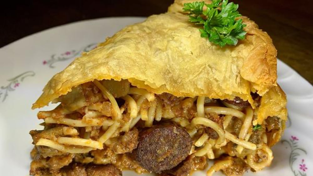 Image ofSmoked Spaghetti Timbale with Hot Italian Sausage and Eggplant