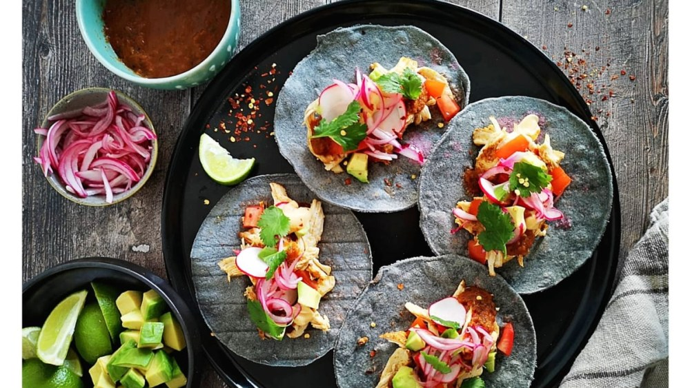 Image ofAncho Chicken Tacos, Smokey Chipotle Salsa, Pico De Galo, Avocado, Pickled Red Onion&Chipotle Crema