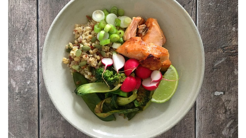 Image ofHoney, Ginger & Sesame Baked Salmon with Peanut Dressed Pak Choi, Broccoli & Grains Recipe
