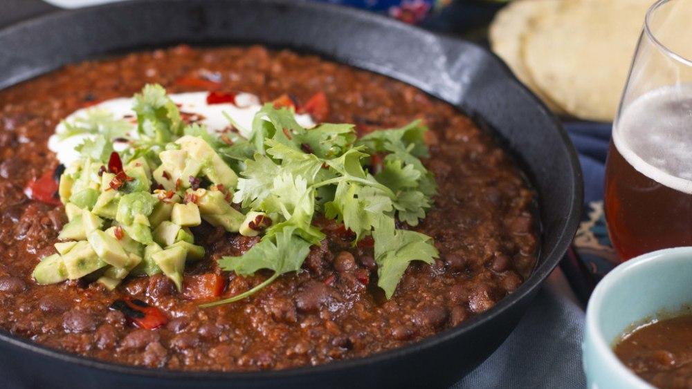 Image ofChilli Con Carne with Green Rice, Guacamole and Sour cream Recipe
