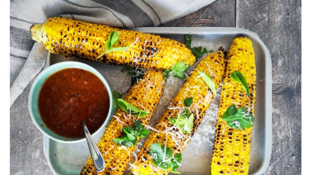 Image ofGrilled Corn with Smokey Chipotle Salsa & Grated Parmesan Recipe