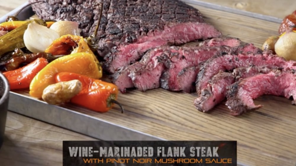 Image ofWine Marinated Flank Steak with Bacon Mushroom Sauce