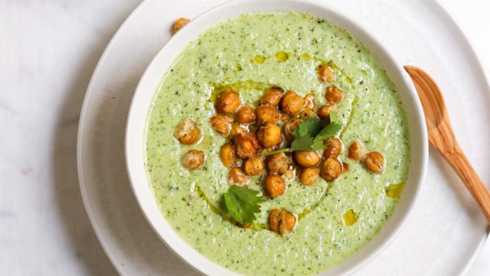 Image of Cucumber Tahini Gazpacho with Crispy Chickpeas
