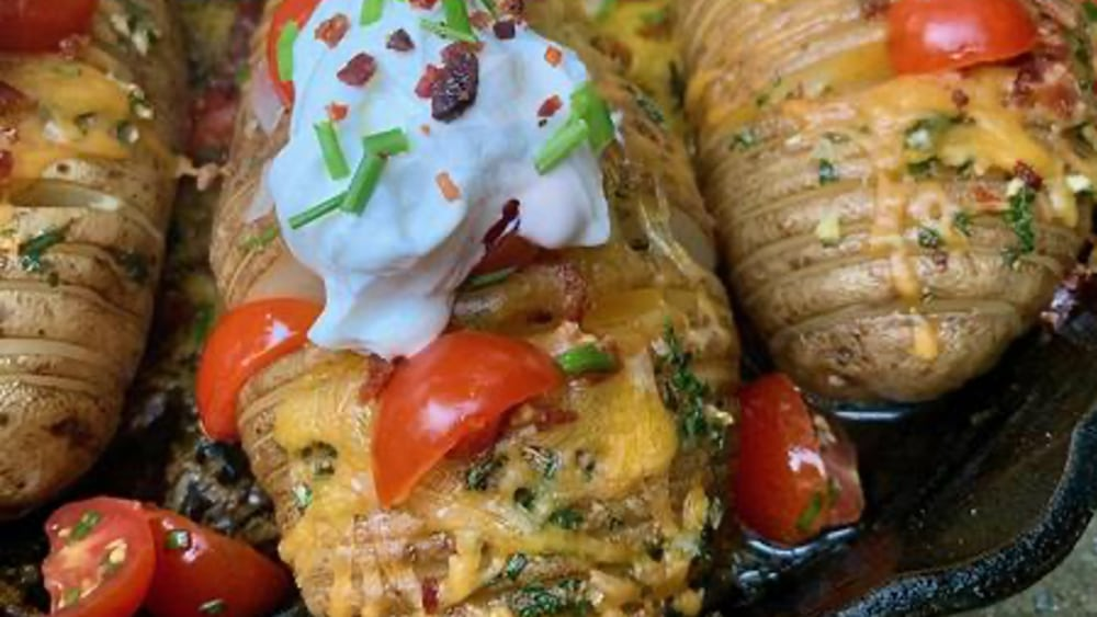 Image ofHasselback Potatoes with Chive Salsa & Jalapeño Sour Cream