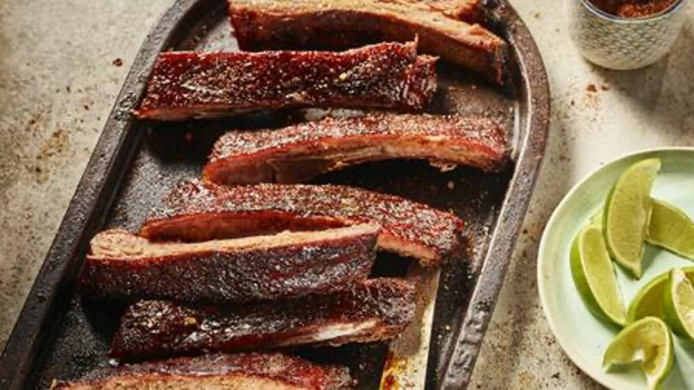 Image ofPomegranate Glazed Pork Ribs with Smoked Chili Salt