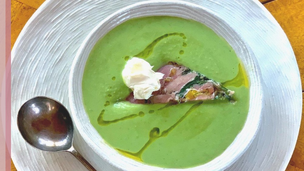Image of Ham Hock & Parsley Terrine with Pea Soup
